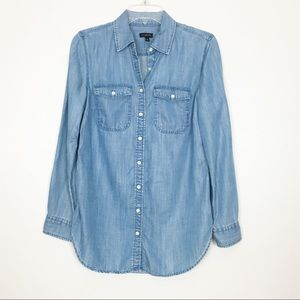 Talbots Blue Chambray Button Down Shirt S